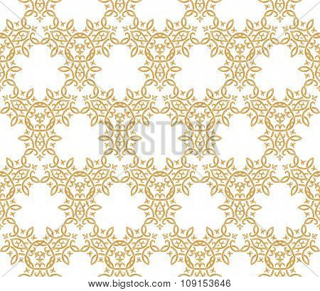 Vintage pattern. Seamless background in Arabic style. Gold, white wallpaper with ornament for design. Traditional oriental decor