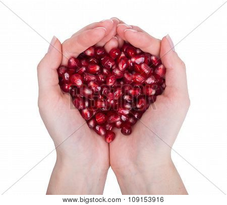 garnet, grains, pomegranate seeds  in female hands.