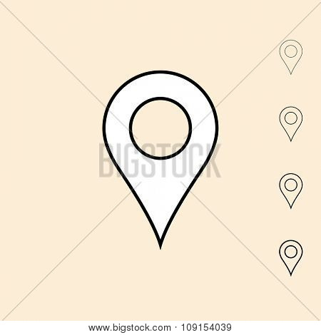Geo location pin icon. Vector icon in four different thickness. Linear style