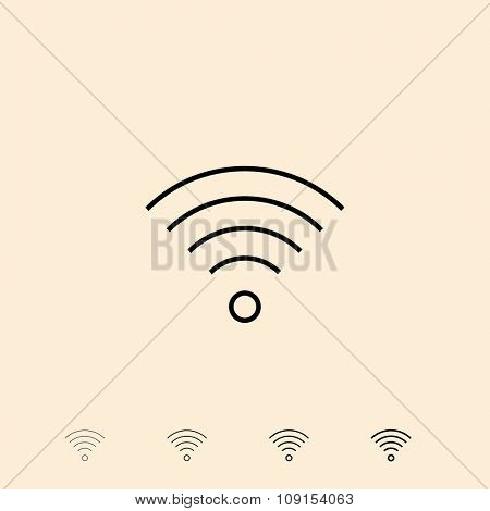Wireless connection icon. Vector icon in four different thickness. Linear style