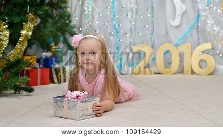 greeting card with girl, gift, new year tree, decorations