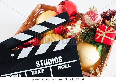 Movie Clapper Board And Christmas Decoration