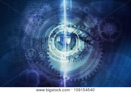 Abstract background with human eye and cogs