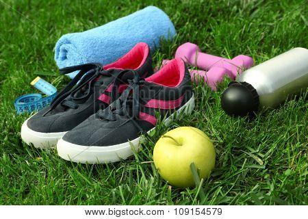 sports equipment on green grass background