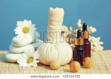 Beautiful composition of spa treatment on sea background