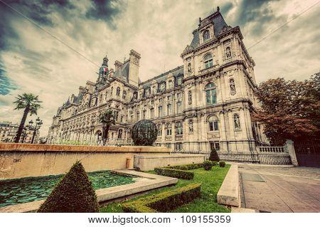 Hotel de Ville in Paris, France. City hall building, a popular landmark. Vintage, retro