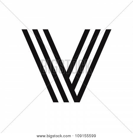 V Letter Formed By Parallel Lines.