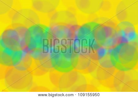 Abstract Yellow Background With Colorful Circles