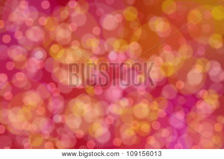 Abstract Red Background With Yellow And Pink Circles