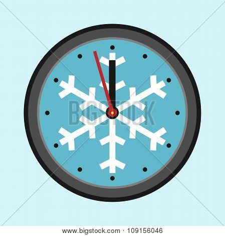 Christmas Clock With Snowflake