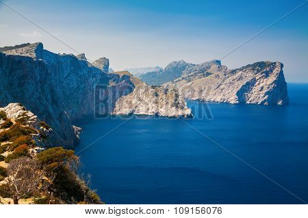 Blue Sea And Rocky Mountains At The Cape Formentor