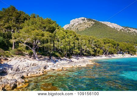 Rocky Coastline Near The Beach Of Mallorca
