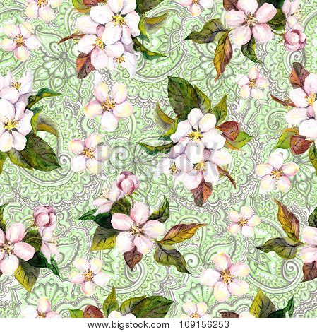 Spring green floral repeating pattern. Blossom flowers on eastern decorative background. Watercolor