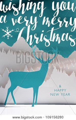 Merry Christmas New Year 2016 Paper Craft Art Card