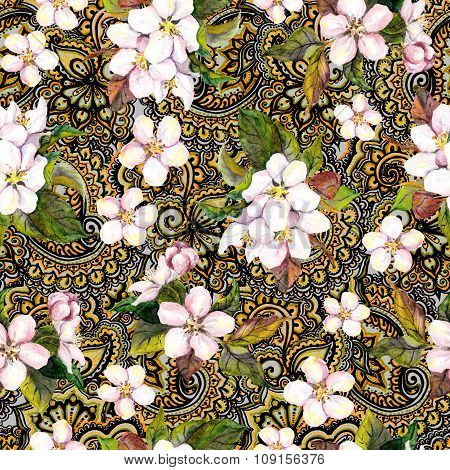 Blossom flowers on decorative ornate wallpaper with gold ornament. Floral repeating pattern. Water c
