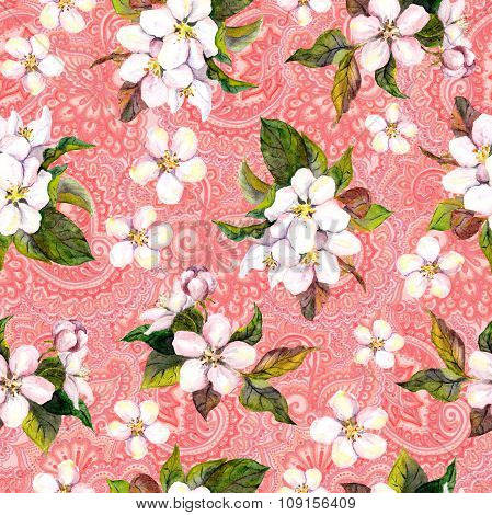 Blossom sakura flowers apple, cherry on eastern asian pink background. Floral repeating pattern. Wat