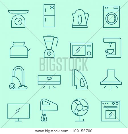 Household appliances icons, thin line design