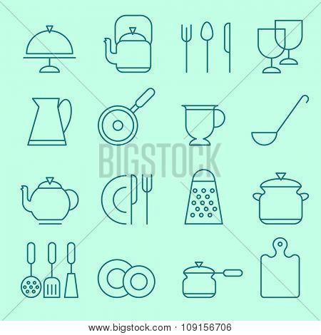 Kitchen utensil icons, thin line design