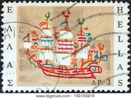 GREECE - CIRCA 1966: Stamp shows 19th-century ship of Skyros island (embroidery)