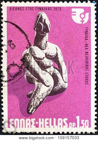 GREECE - CIRCA 1975: A stamp printed in Greece shows Neolithic Goddess
