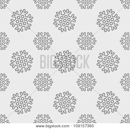 Snowflake Vector Pattern. Linear Snowflakes On Gray Background