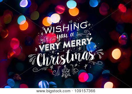 Merry Christmas Card Bokeh Blur Cute Doodle Text