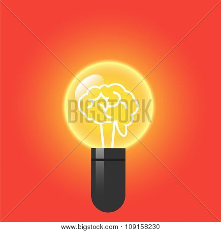 Brain inside a light bulb.