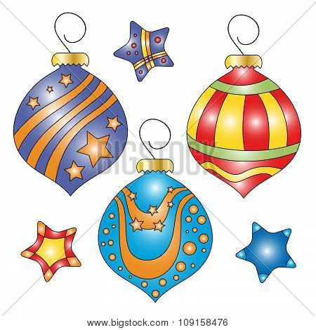 Whimsical colorful bauble and star collection