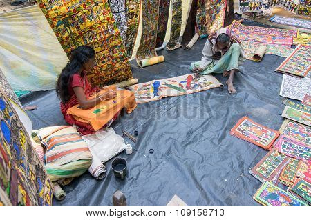 Handicrafts Are Perpared For Sale By Rural Indian Man And Woman In Pingla Village, India