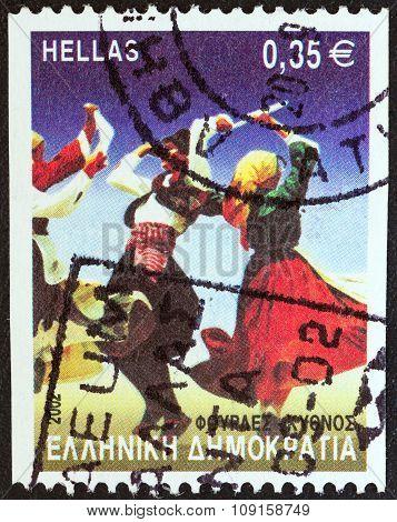 GREECE - CIRCA 2002: A stamp printed in Greece Fourles dance, Kythnos island