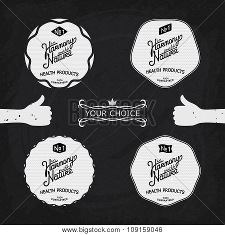 Set Vintage Labels On The Theme Of Nature