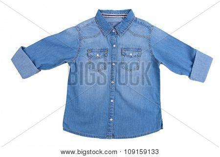 Blue denim shirt isolated on white background