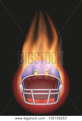 Football helmet with flame.