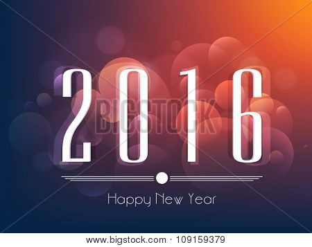 Greeting card design with text 2016 on shiny colorful background for Happy New Year celebration.