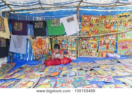 Handicrafts Are Being Sold By Rural Indian Girl, Pingla Village