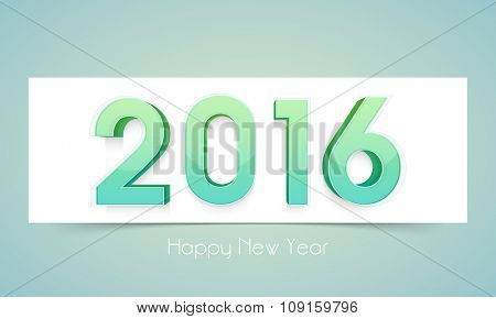Greeting card design with glossy 3D text 2016 for Happy New Year celebration.
