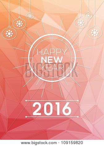 Stylish origami Flyer, Banner or Pamphlet for Happy New Year 2016 celebration.