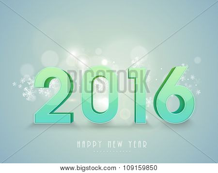 3D glossy text 2016 on shiny snowflakes decorated background for Happy New Year celebration.