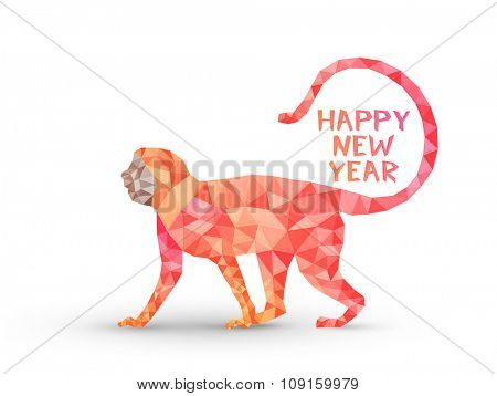 Colorful creative origami Monkey on white background for Chinese New Year 2016 celebration.