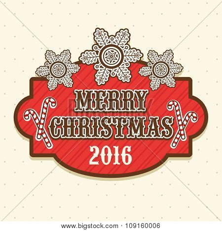 Snowflakes and candy cane decorated greeting card design for Merry Christmas celebration.