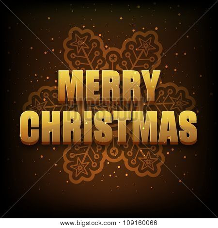 Elegant greeting card design with glossy snowflake on brown background for Merry Christmas celebration.