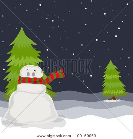 Cute snowman with Xmas Tree on winter night background for Merry Christmas celebration.