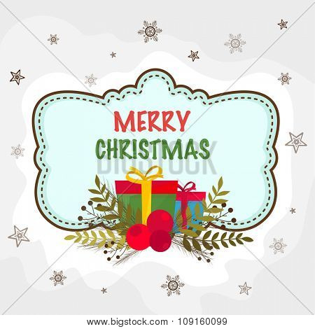 Creative snowflakes and stars decorated greeting card with colorful ornaments for Merry Christmas celebration.