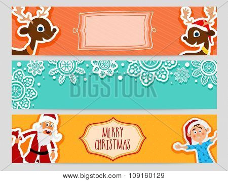 Merry Christmas celebration website header or banner set with cute Santa, boy and reindeers.