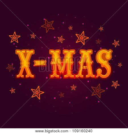 Glossy text X-Mas on stars decorated purple background for Merry Christmas celebration.