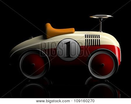 Beige-red retro toy car number one isolated on black background