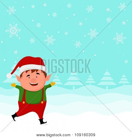 Illustration of a cute boy in Santa cap on snowflakes decorated winter background for Merry Christmas celebration.