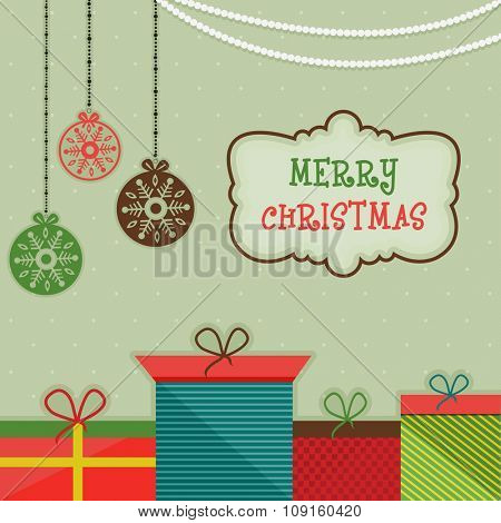 Colorful gifts and Xmas Balls decorated greeting card design for Merry Christmas celebration.
