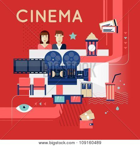 Cinema movie poster concept.