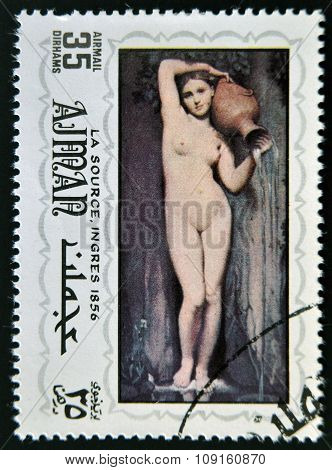 AJMAN - CIRCA 1980: A stamp printed in ajman shows The source by Ingres circa 1980